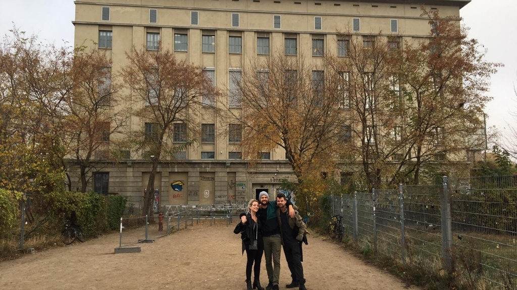 friends outside Berghain in Berlin